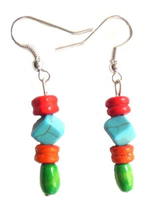 Bohocraft Bohemian Square Turquoise, Wooden, Silver Wood Dangle Earring