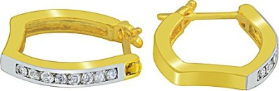 The Fine World Styled In Classic Combination Zircon Metal Hoop Earring