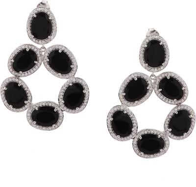 RR FOREVER Gemstone Onyx Silver Drop Earring