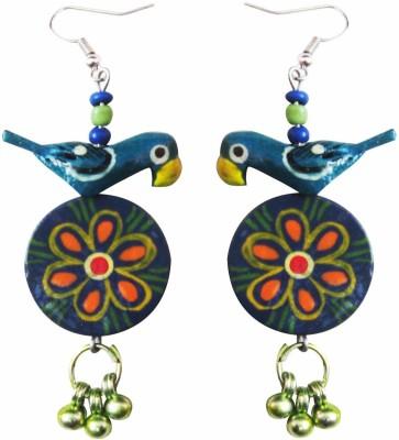 Juhi Malhotra Teal Bird Wood Dangle Earring
