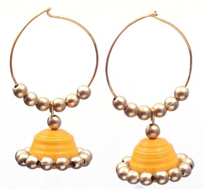Rivory Bros Quilled Traditional Yellow Jhumkis Paper Hoop Earring