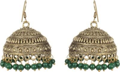 Saadgi Green Handcrafted Wedding Collection German Silver Jhumki Earring