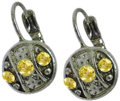 Sanaa Creations Exceptional Yellow Color stone Oxidized Alloy Hoop Earring