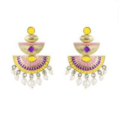 BeBold Chandbali Pearl Meenakari Brass Drop Earring