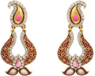 Aaishwarya Traditional Paisley Design Meenakari Pink Crystal Brass Chandbali Earring