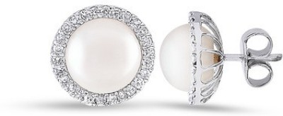 VelvetCase Classic Diamond and Pearl Studs Pearl Gold Stud Earring