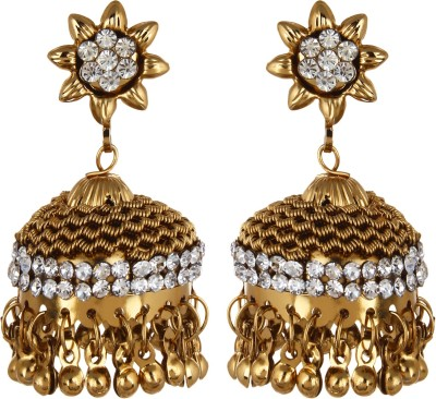 Fabula Gold & White Zircon American Diamond AD CZ Traditional Ethnic Jewellery Jhumki Drop for Women, Girls & Ladies Metal Jhumki Earring
