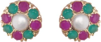 Janki Jewellers Flowe Stone Cubic Zirconia Alloy Stud Earring