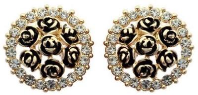 Roma Brothers Enamal Roses1 Cubic Zirconia Alloy Stud Earring