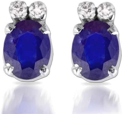 Ijuels Love & Diamonds Forever Diamond, Sapphire White Gold Stud Earring