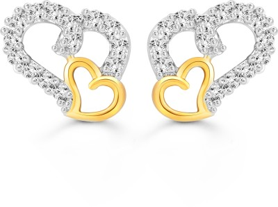 Vighnaharta White Couple Heart Cubic Zirconia Alloy Stud Earring
