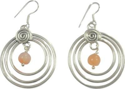 MPCI Agate Round Agate Brass Dangle Earring