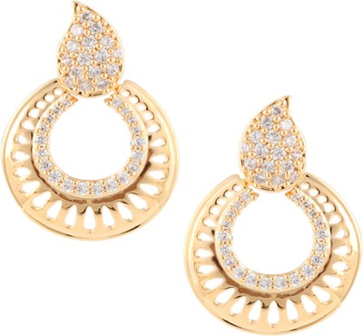 Beautiart Sunshine Gold Cubic Zirconia Alloy Chandbali Earring