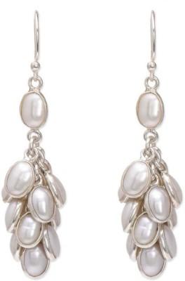 VelvetCase capricious cascading danglers- pearl white Silver Stud Earring