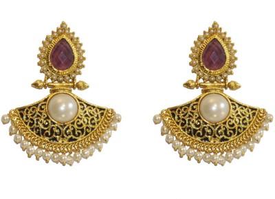 Women Trendz Purple Golden Polish With Traditional Brass Chandbali Earring