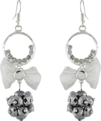 One Stop Fashion Trendy And Stylish Silver Ring And Grey Crystal Ball Alloy Dangle Earring
