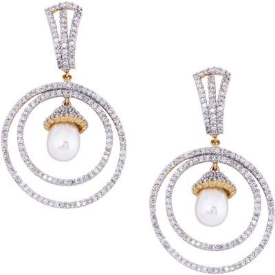 Giftmania White Pearl Center of American Diamond Pearl Brass Drop Earring