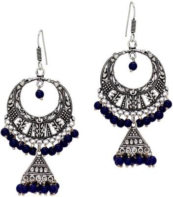 Jaipur Mart Oxidised Silver Tone Blue Bali Alloy Jhumki Earring