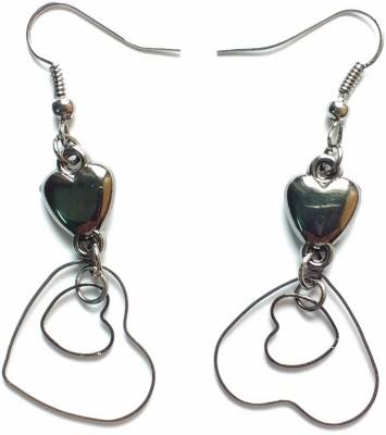 modifier Loving Heart Black Silver Alloy Dangle Earring