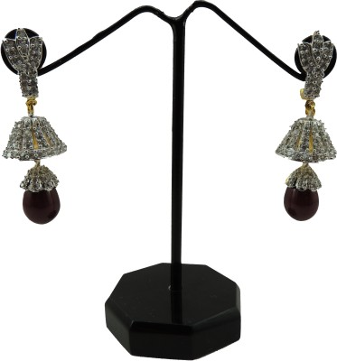 Bharat Sales One Ladies Red-Color And Diamond Casual Hit Cubic Zirconia Copper Drop Earring