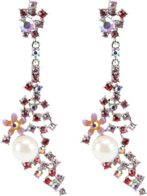 Sparkle Street Floral Pearl Alloy Drop Earring