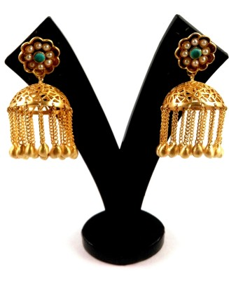 Kraftzilla GOLD PLATED TURQUOISE AND PEARL EARRING Turquoise, Pearl Brass Jhumki Earring, Tassel Earring