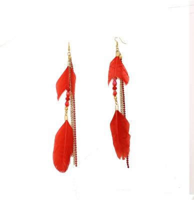 Galz4ever Unique Drop Feather Metal Dangle Earring