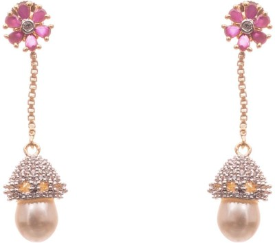 lahari enterprises Fashion EARINGS Drops Ruby, Pearl Alloy Drop Earring
