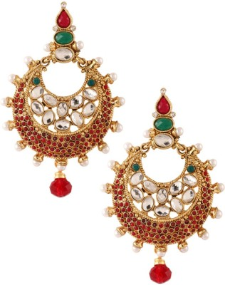 Graykart Maroon & Green Pota Kundan Pearl Gold Plated Alloy, Zinc Drop Earring
