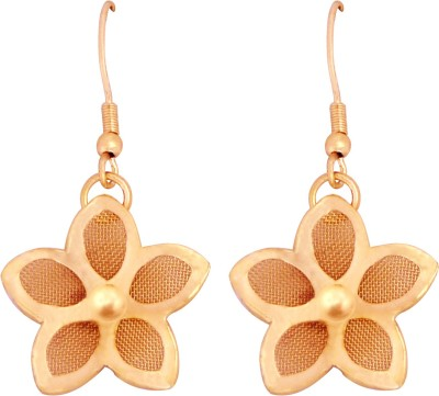 Camy Floral Alloy, Brass Dangle Earring