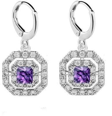 Eterno Fashions Exclusive AAA CZ Square Cubic Zirconia Alloy Drop Earring