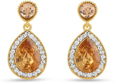 Rich Lady Rich Lady Royal Gold Sparklers Alloy Drop Earring Brass, Stone Tunnel Earring