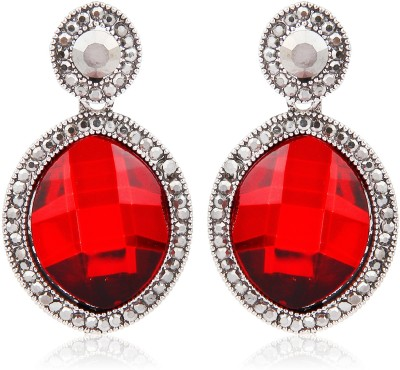 Moedbuille Red Crystal Encrusted Cubic Zirconia Alloy Drop Earring