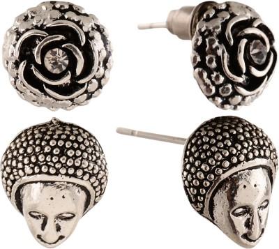 Anokhi Ada Human Face and Rose Metal Stud Earring