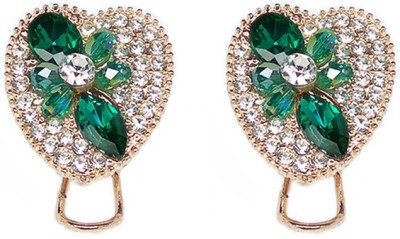 000 Fashions Green Crystal Love shaped Alloy Stud Earring