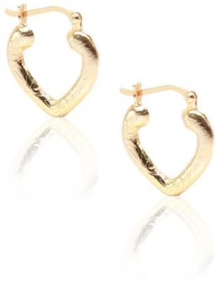 LeCalla Workwear Heart Shape Gold Sterling Silver Hoop Earring