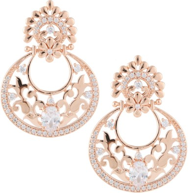 Beautiart Pink Gold Cubic Zirconia Alloy Chandbali Earring