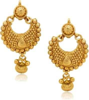 Oviya Golden Diya Crystal Alloy Chandelier Earring