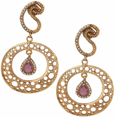 Gold & More Round Moon Mother of Pearl, Tourmaline Brass Drop Earring