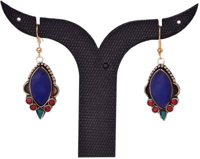 Tradition India TI48 Handmade Designer Stone Studded Traditional Lac Worked Brass Drop Earring