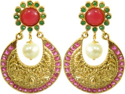 Peora Crimson Brass Chandbali Earring