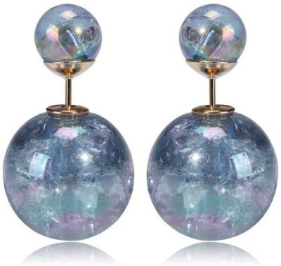 FashionFundamentals Double Bubble Glass Stud Earring