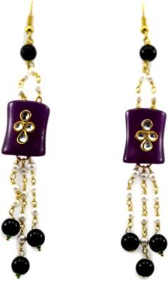 Bharat Sales purple pearl Latest Bollywood Cubic Zirconia Alloy Tassel Earring