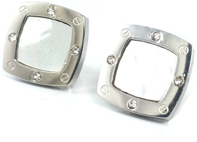Ammvi Silver Square Hanging Look w/ Embeded Mineral Stone Stainless Steel Stud Earring