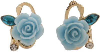 RIANZ New Ceramic Gold Colored Flower Alloy, Crystal Stud Earring