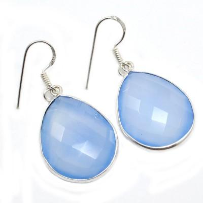Silvesto India 1458 Chalcedony Sterling Silver Drop Earring, Dangle Earring