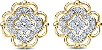 Kirati Designer Flower Shape Cubic Zirconia Sterling Silver Stud Earring