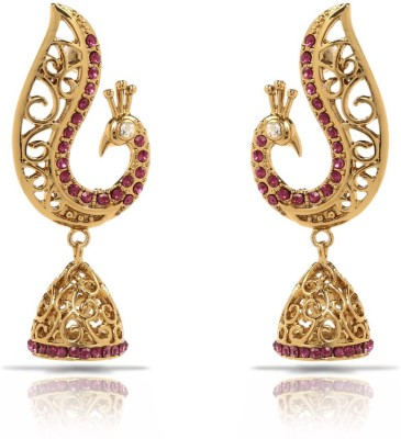 Donna Pink Peacock Jhumki Crystal Alloy Dangle Earring