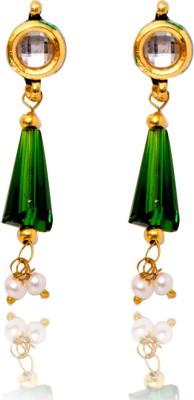 Ratnakar Green Sparkle Copper Drop Earring