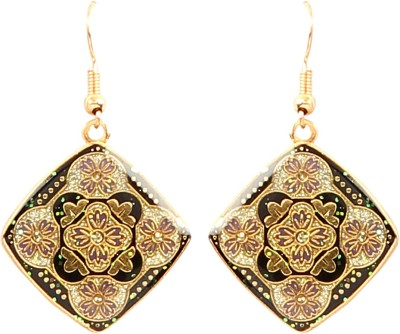 Jewel Funk Square Black and Gold with intricate surface work Alloy Dangle Earring